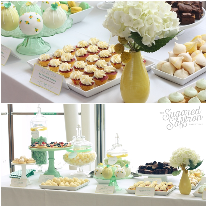 yellow and mint dessert table in canary wharf