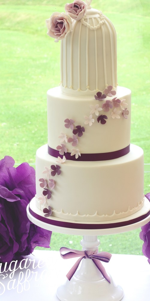 purple birdcage wedding cake