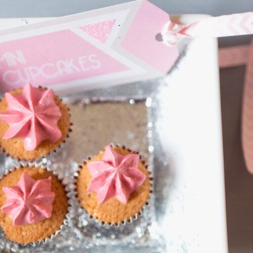 Mini cupcakes and glitter