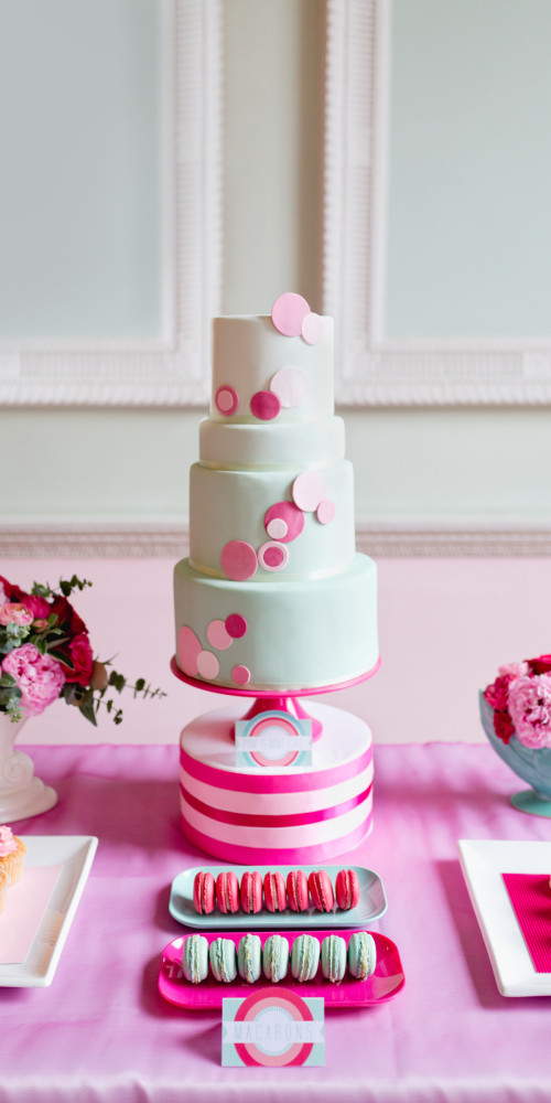 Mint and pink dessert table