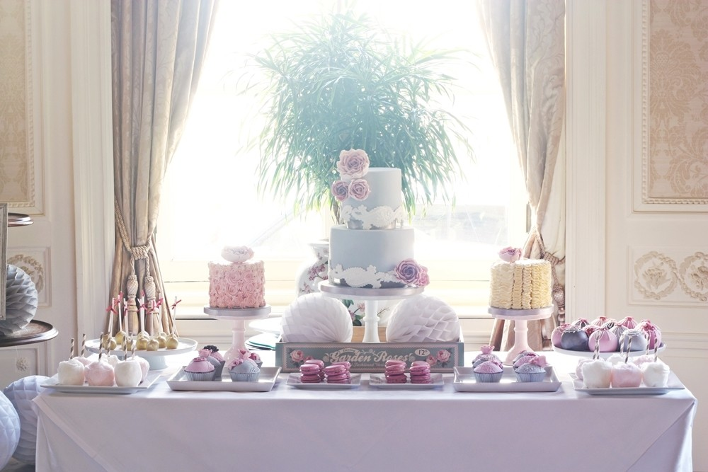 Grey and pink dessert table
