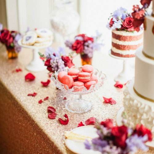 Red and purple dessert table