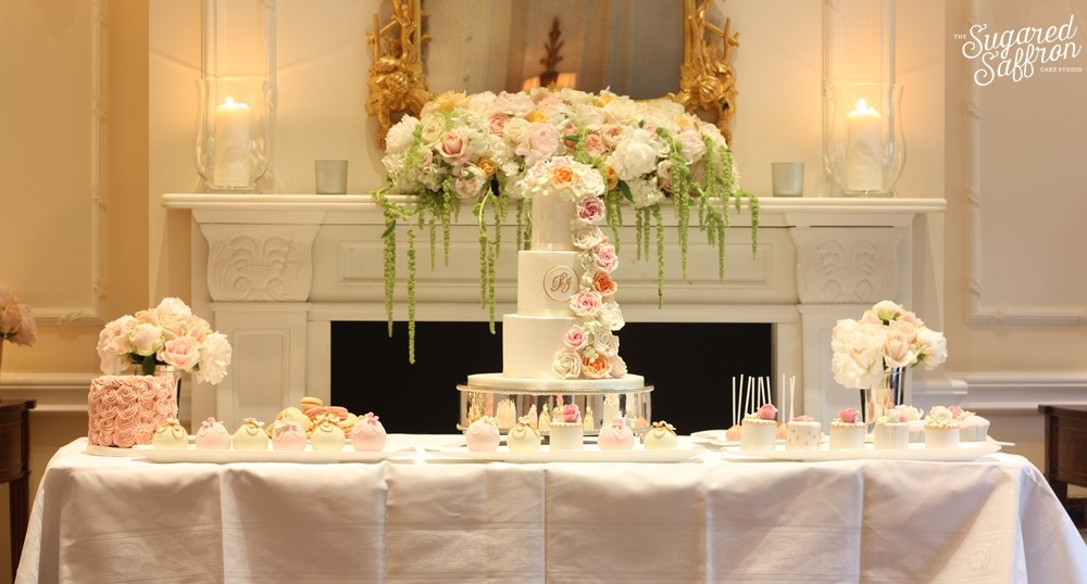 pink, peach and grey dessert table