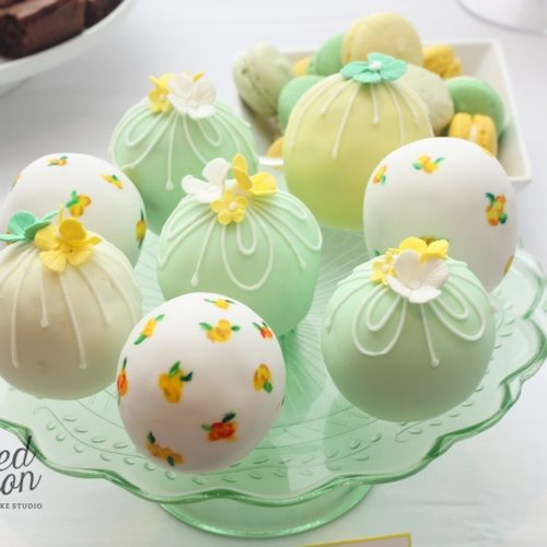 cake spheres in green yellow