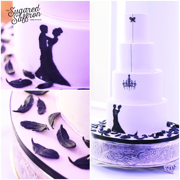 black and white wedding cake at andaz