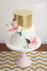 Alstroemeria and Gold Leaf wedding cake