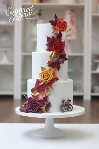 Autumn themed wedding cake