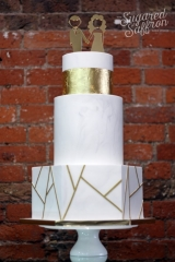 Hexagon bottom tier with marble rounds on top