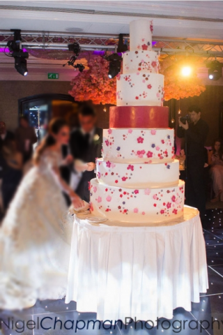 giant wedding cake with painted blossoms in dark pink and purple