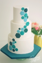 Teal hexagon wedding cake