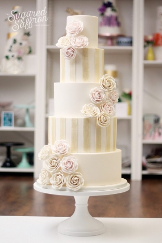 dark ivory shimmer stripes and roses in pink