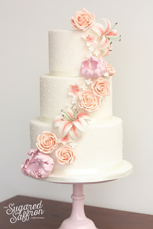 Sugar rose and lily cascade in pink and peach