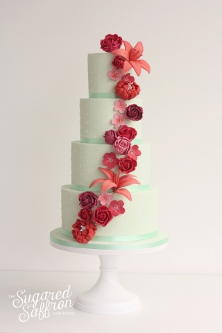 Mint, Deep Pink & Coral Roses and Lilies wedding cake