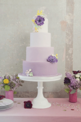 Ombre purple wedding cake with anemones