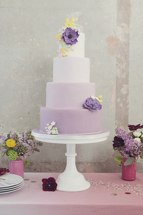 Ombre purple wedding cake with anemones