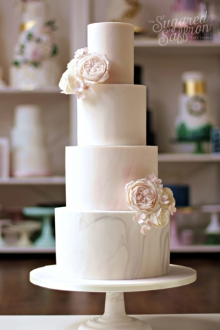Pink and grey marble with with sugar flowers in london