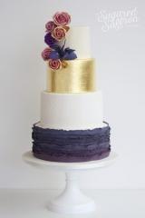 Purple ruffles, gold leaf and sugar amnesia roses and blue iris
