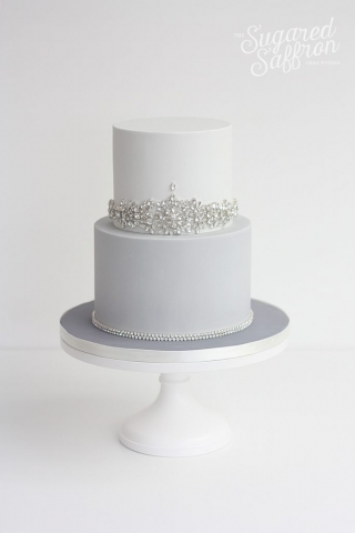 different shades of grey wedding cake with jewels