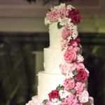 large cascade iof sugar roses in different shades of pink