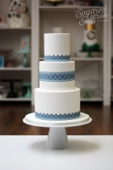 Ukranian Embroidery wedding cake in blue and white