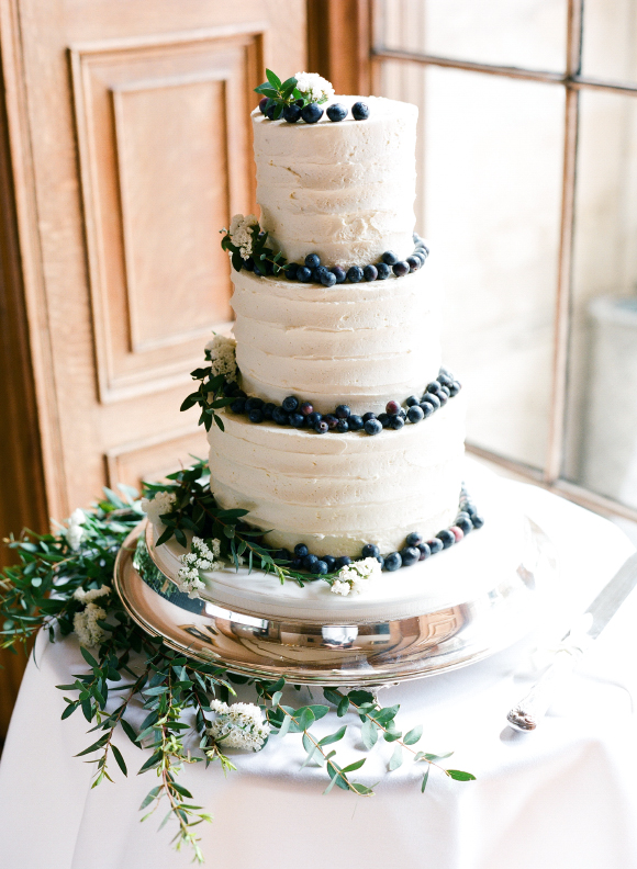 Rustic buttercream cake with foliage