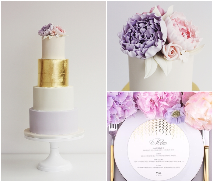 Gold, pink, lilac wedding cake inspiration