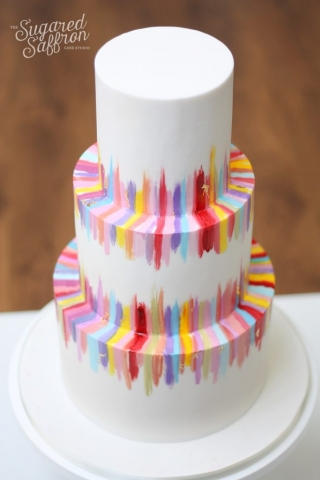 multicolour brush stroke wedding cake