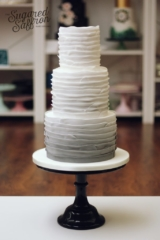 Ombre grey paper style ruffle wedding cake