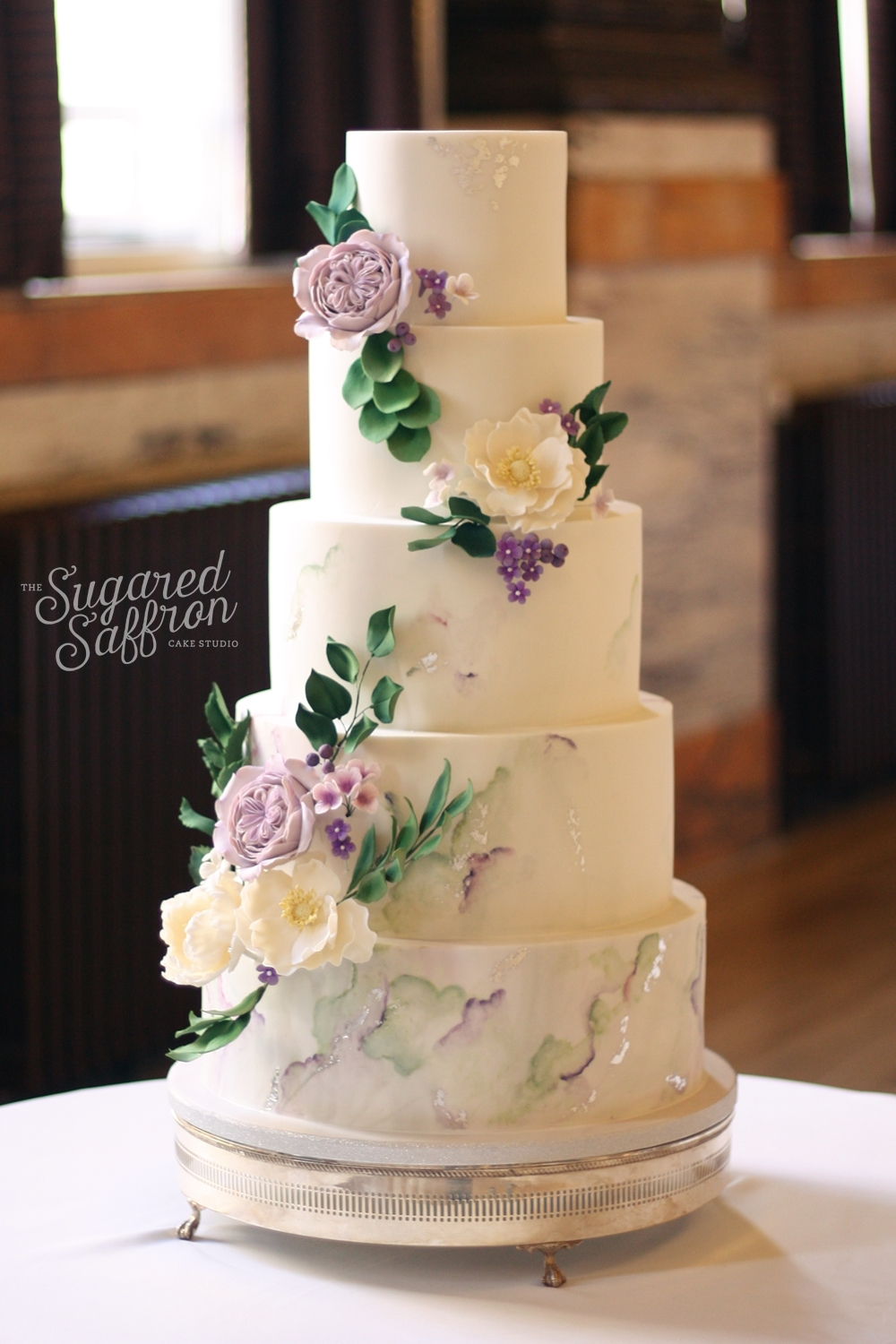 Sage and Lavender, green and purple watercolour and marble with sugar flowers and leaves at One Great George Street.