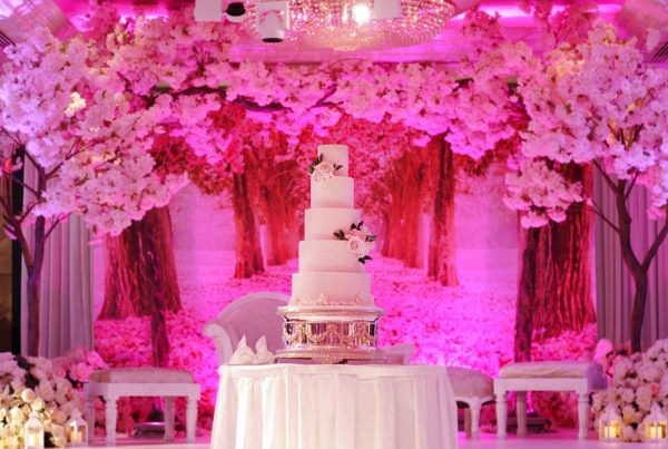 pink cherry blossom wedding cake at jumeirah carlton hotel london
