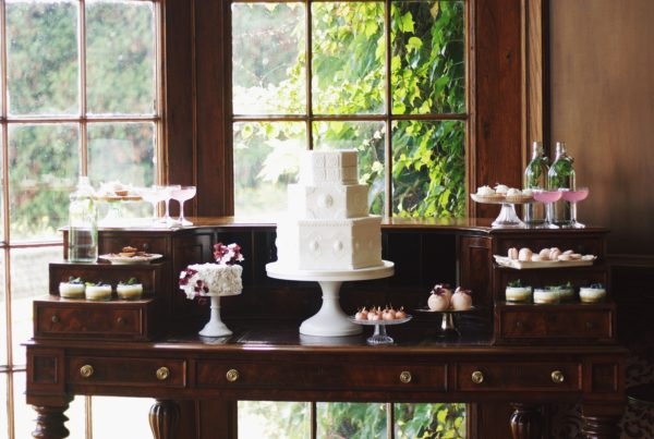 luxury wedding cake in victorian style at luttrellstown castle in dublin ireland