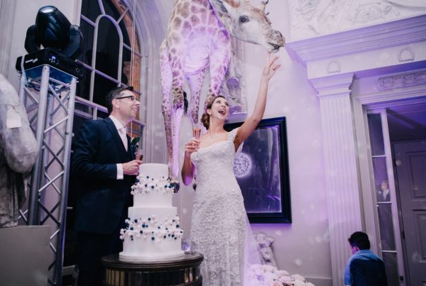 White blue and pink abstract bubble wedding cake at aynhoe park in oxford