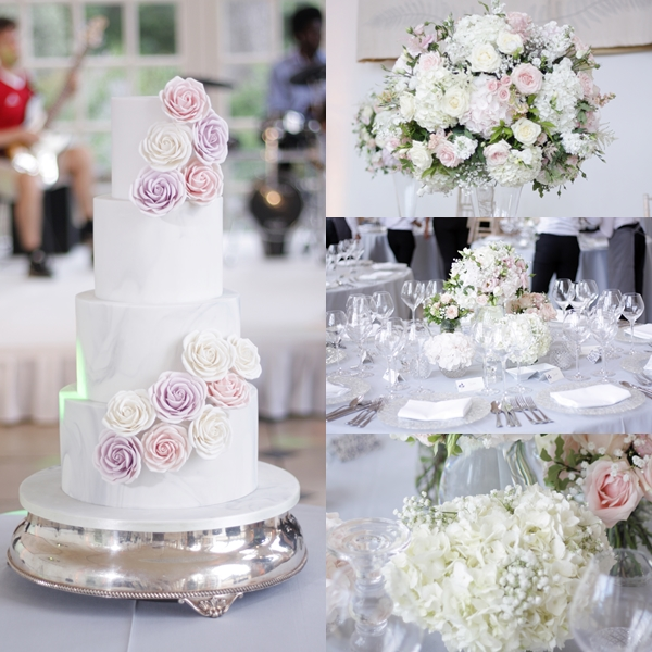 Marble wedding cake at Kew gardens with luxurious wedding flowers on tables