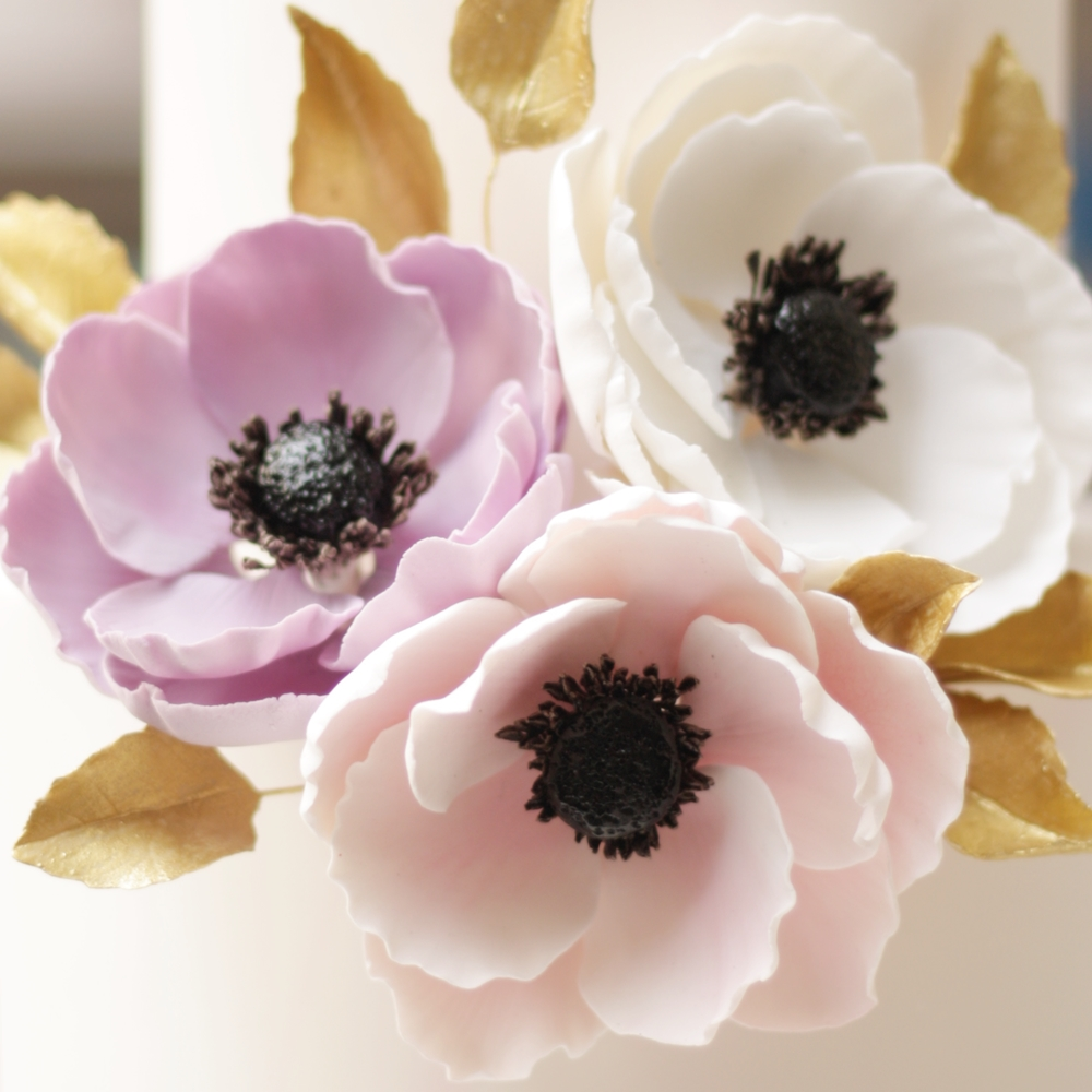 Lilac, pink and white anemones