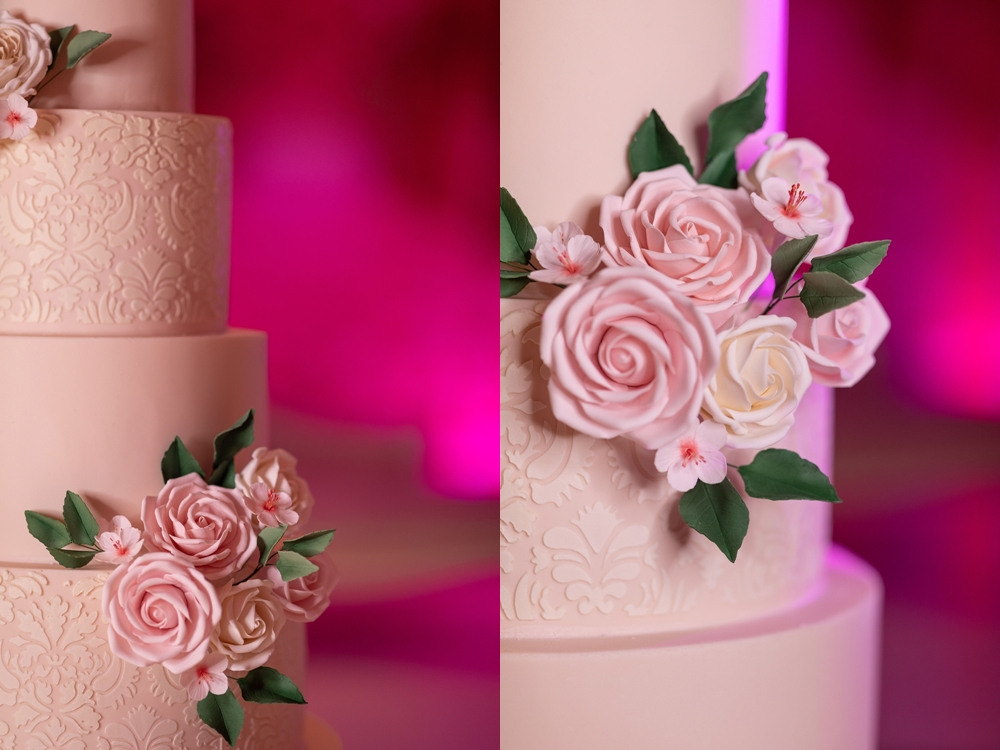 damask wedding cake at london wedding