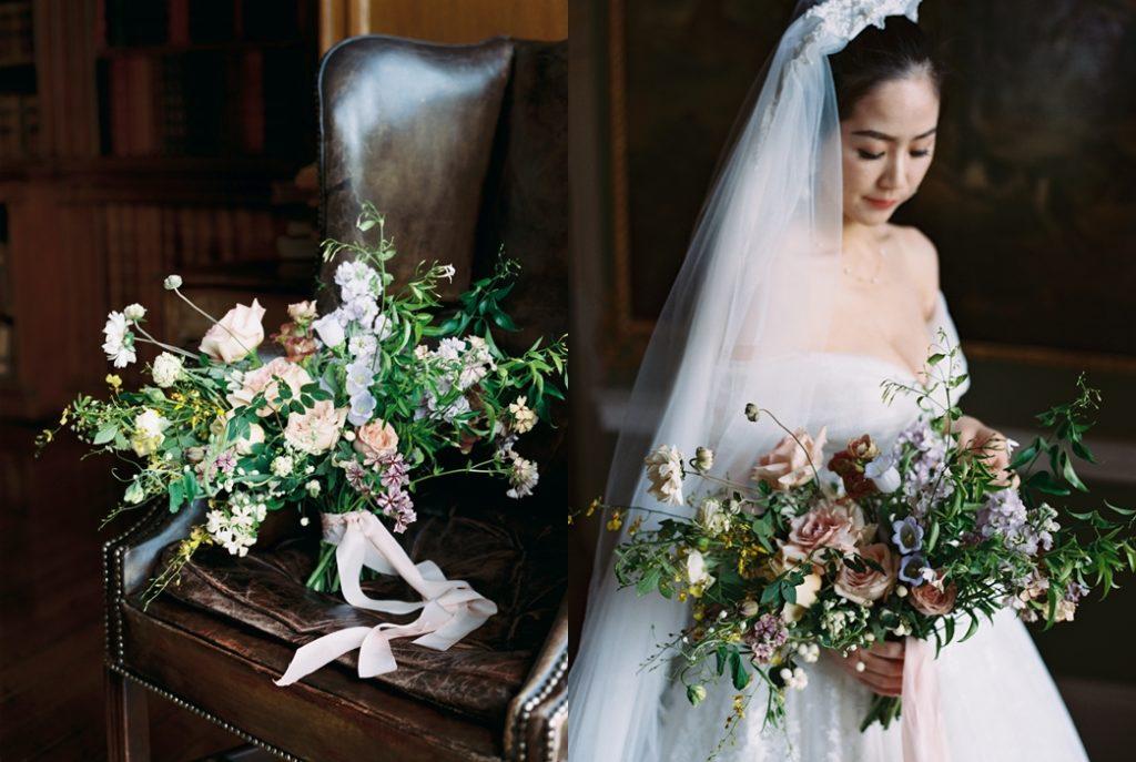 luxury wedding flowers at destination wedding in ireland