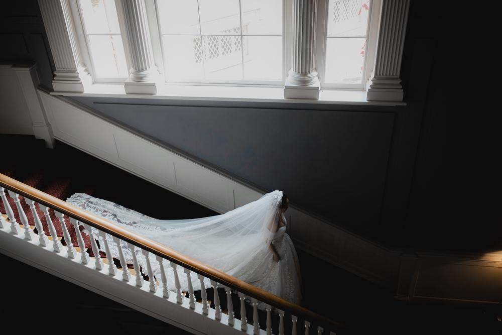 stunning bridal portrait on stairs