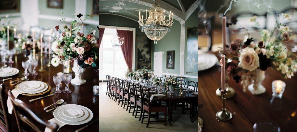 luxury wedding dinner at luttrellstown castle in ireland