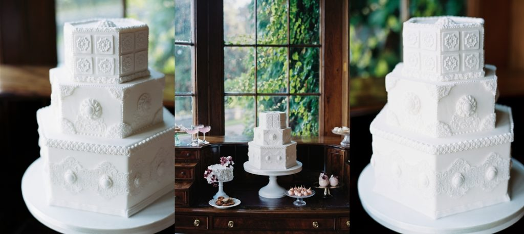 victorian hexagon wedding cake at luttrellstown castle