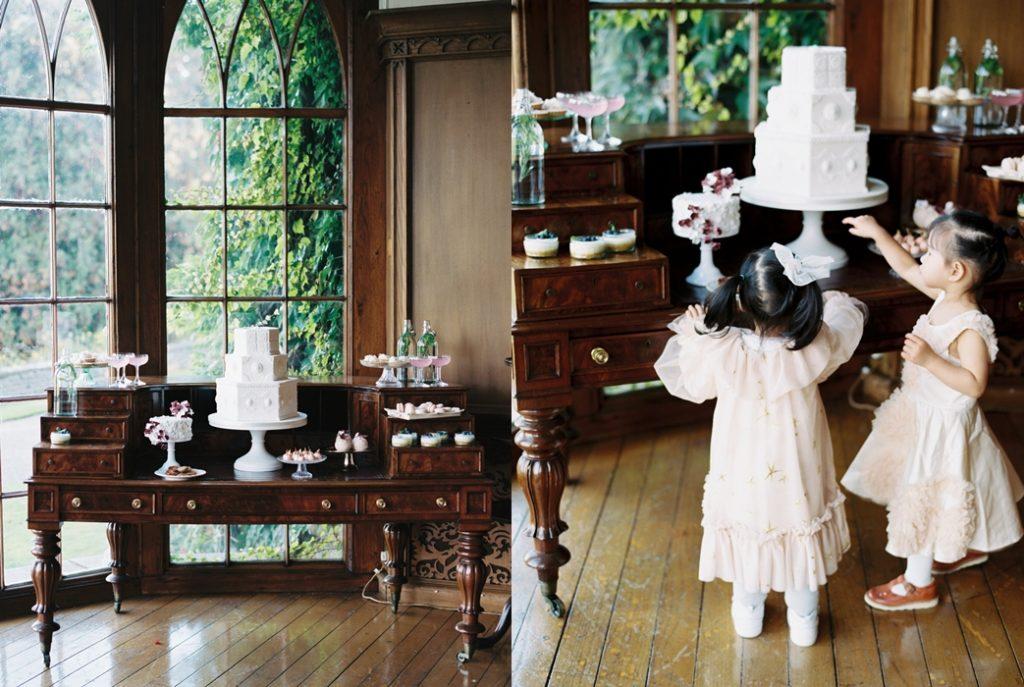 dessert table and wedding cake at luttrellstown castle Ireland