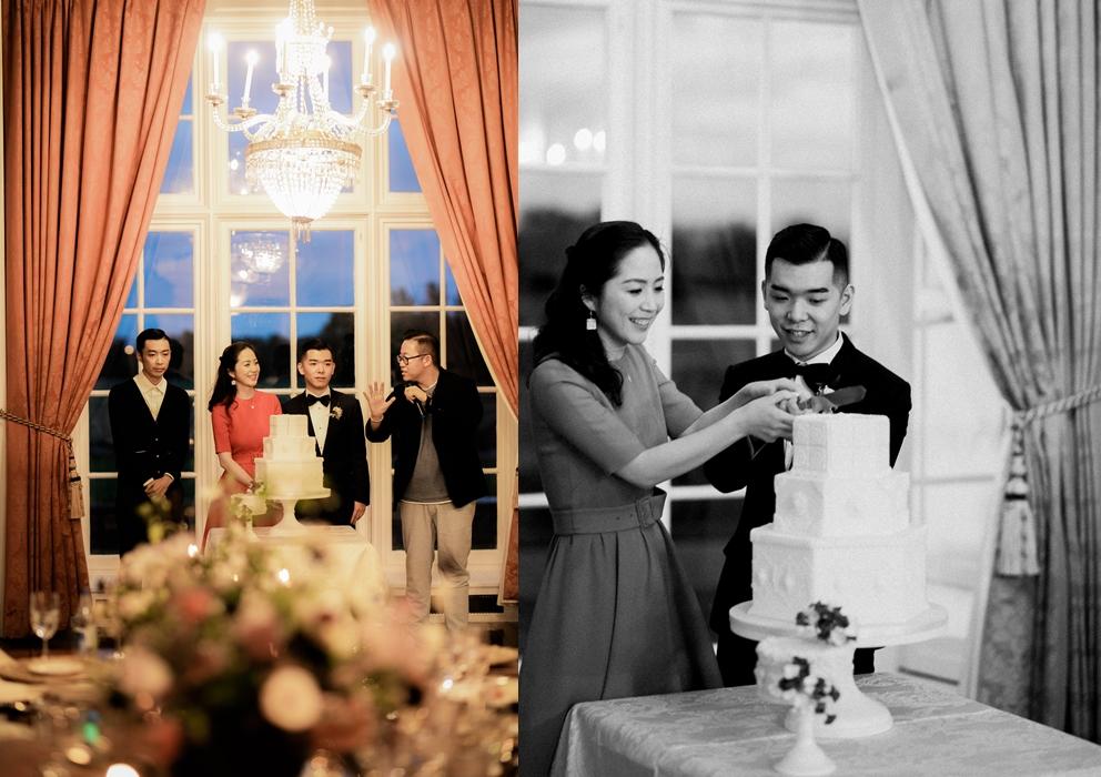 wedding cake cutting at luttrellstown castle in Ireland