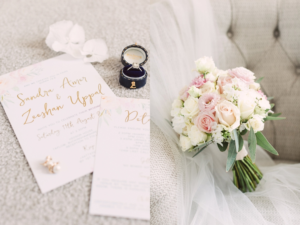 Flowers and invitations at hedsor house