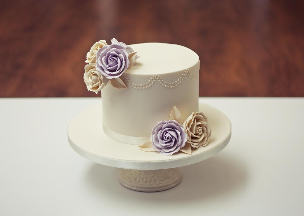 Cream and lilac luxury birthday cake